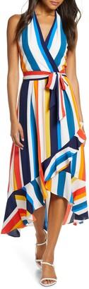 Julia Jordan Striped Halter Maxi Sundress