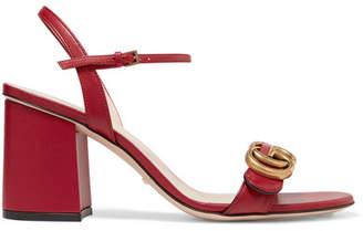 1ec593cd46f Gucci Marmont Logo-embellished Leather Sandals - Red