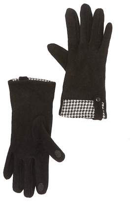Roffe Accessories Houndstooth Trim Touch Gloves
