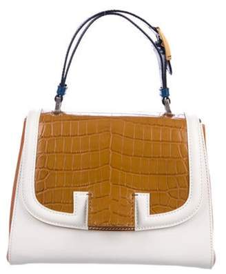 Fendi Silvana Leather & Crocodile Satchel White Silvana Leather & Crocodile Satchel