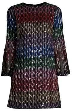 Alice + Olivia Thym Embellished Trumpet Sleeve Mini Dress