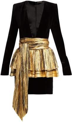 Alexandre Vauthier Pleated-overlay mini dress