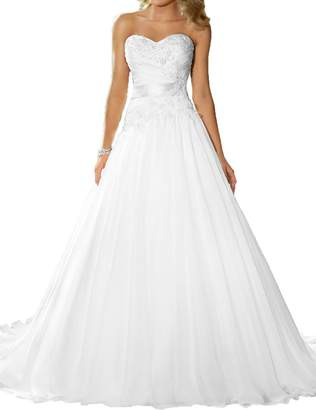 ASBridal A line Strapless Lace Wedding Dresses Long Bridal Gowns with Satin Sash US