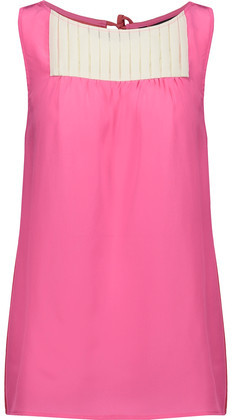 Marc by Marc Jacobs Bowery Color-Block Pintucked Silk Crepe De Chine Top