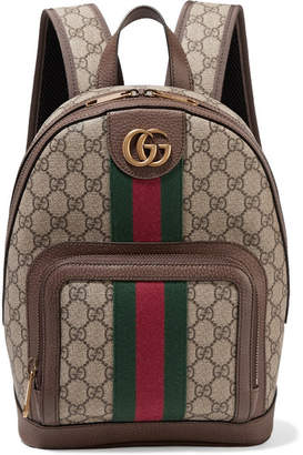 8ba52c05c370 Gucci Ophidia Small Textured Leather-trimmed Printed Coated-canvas Backpack  - Beige