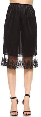 Melody Women's long single lace satin underskirt skirt extender half slip for lengthening