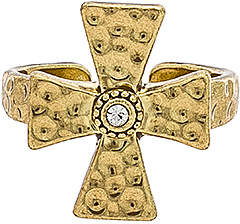 Luv Aj The Hammered Cross Signet Ring