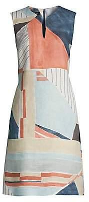 Lafayette 148 New York Women's Taren Abstract Sleeveless Linen Dress