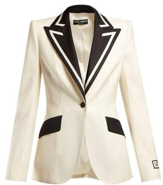 Dolce & Gabbana Contrast Lapel Single Breasted Wool Blend Blazer - Womens - Black Cream