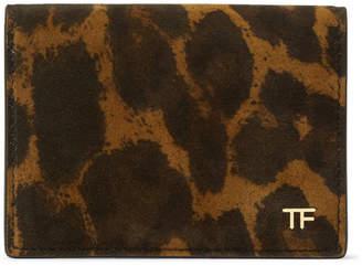 Tom Ford Leopard-Print Nubuck Billfold Wallet - Men - Tan