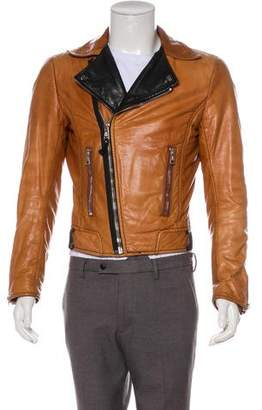 Balenciaga 2008 Two-Tone Leather Moto Jacket