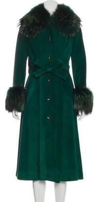 Loewe Fur-Trimmed Suede Coat: