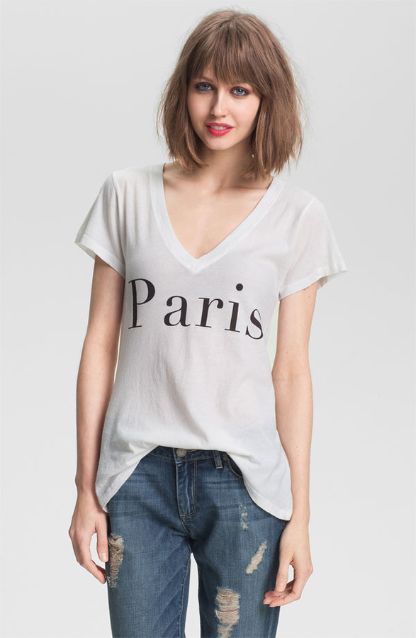 Wildfox Couture 'Paris' Graphic Deep V-Neck Tee (Nordstrom Exclusive)