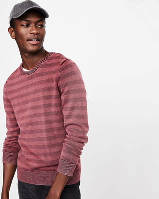 Express Garment Dyed Striped Crew Neck Sweater