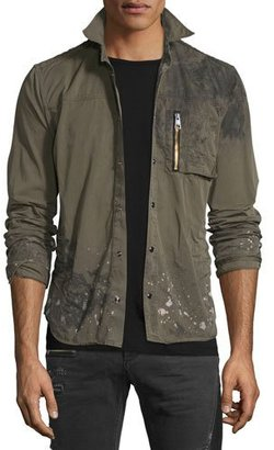 Just Cavalli Distressed Long-Sleeve Military Shirt Jacket, Olive $565 thestylecure.com