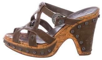 Christian Dior Embellished Leather Cork Sandals Olive Embellished Leather Cork Sandals
