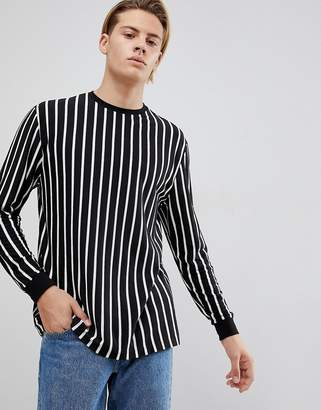 Asos Design DESIGN vertical stripe relaxed long sleeve t-shirt