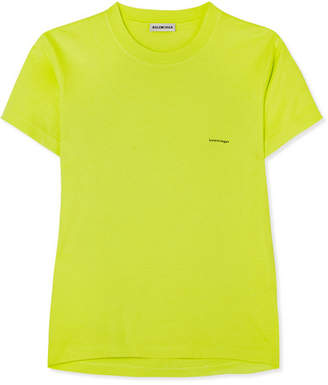 Balenciaga Printed Cotton-jersey T-shirt - Yellow