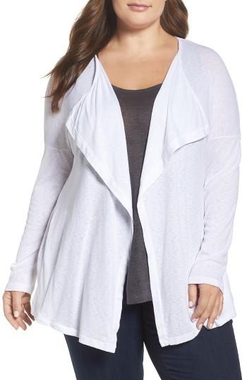 Three DotsPlus Size Women's Three Dots Luz Drape Front Cardigan