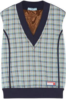 Prada Checked Jacquard-knit Sweater