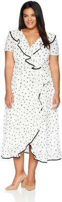 Gabby Skye Women's Plus Size Polka Dot Ruffled Trim Dress, Ivory/Black, 16W