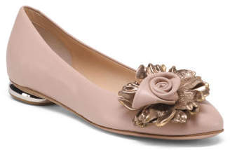 Made In Italy Leather Floral Ballet Flat