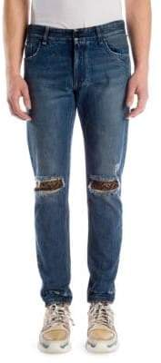 Fendi Distressed Logo Patch Skinny Jeans