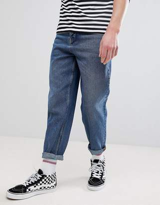 Asos DESIGN Skater Fit Jeans In Vintage Dark Wash