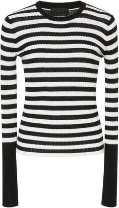 ATM Striped Rib Knit Wool Sweater