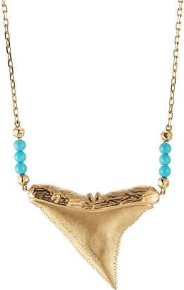 Aurelie Bidermann Fine Jewelry Shark 18kt Yellow Gold Necklace with Turquoise
