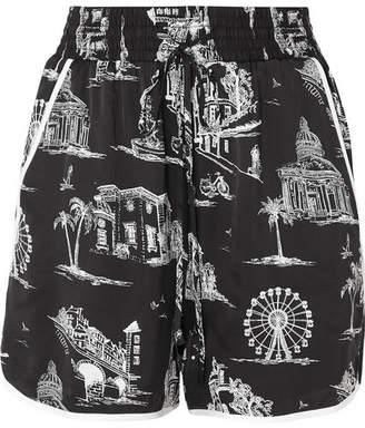 Maje Printed Satin Shorts - Black