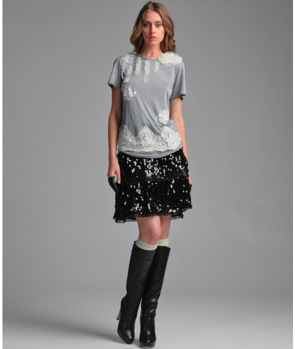 Red Valentino black sequin lace trim skirt