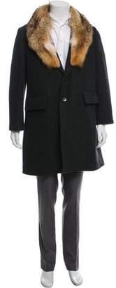 Billy Reid Coyote-Trimmed Wool Coat