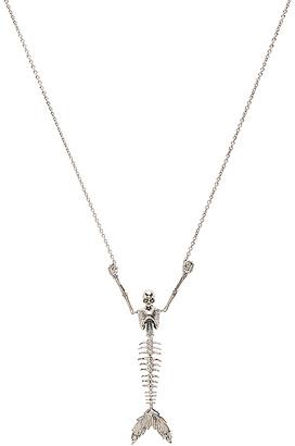 Vivienne Westwood Ariel Skeleton Necklace in Metallic Silver. $423 thestylecure.com