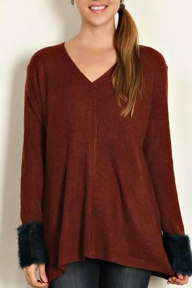 LoveRiche Fuzzy Cuff Sweater $32 thestylecure.com