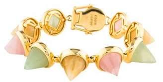 Eddie Borgo Rose Quartz, Jadeite & Chalcedony Cone Bracelet
