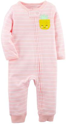 Carter's Baby Girl Pineapple Striped Footless One-Piece Pajamas