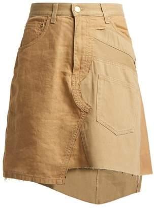 Loewe Deconstructed Chino Cotton Gabardine Skirt - Womens - Beige