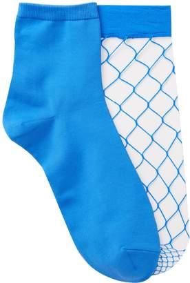 Free Press Open Fishnet Crew Socks - Pack of 2