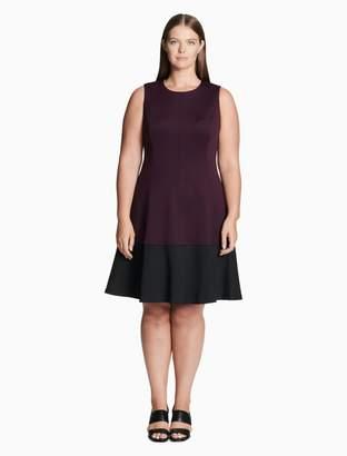Calvin Klein plus size colorblock scuba fit + flare dress