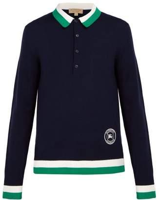 Burberry Brandon Merino Wool Polo Shirt - Mens - Navy