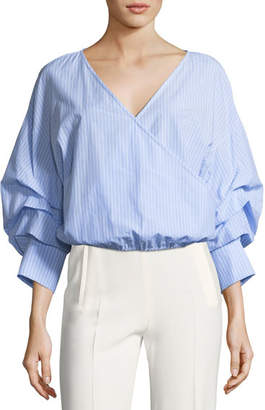 Alice + Olivia Braelyn Wrap-Front Ruched-Sleeve Striped Top