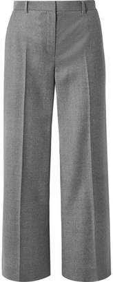 The Row Ina Grain De Poudre Wool Straight-leg Pants - Gray