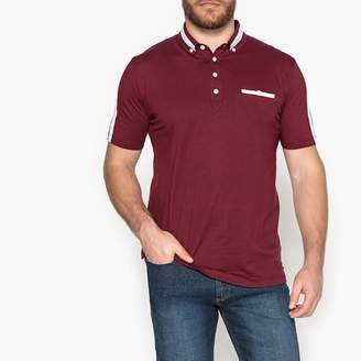 CASTALUNA MEN'S BIG & TALL Short-Sleeved Polo Shirt with Contrast Stripes and Print