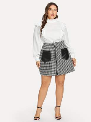 Shein Plus Contrast PU Panel Zip Up Tweed Skirt