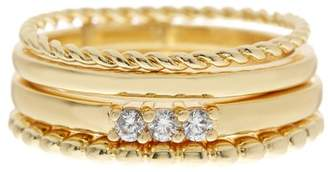 Sterling Forever 14K Yellow Gold Plated CZ Rope Band Stacking Ring Set