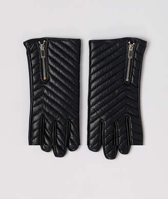 Asos Design DESIGN leather quilted gloves