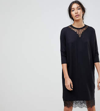 Asos Tall TALL Oversize T-Shirt Dress with Batwing Sleeve and Lace Inserts