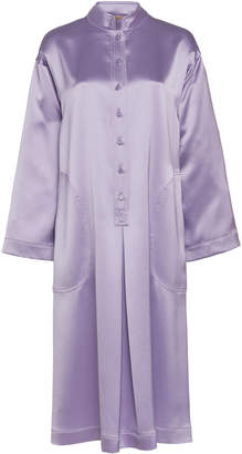 ADAM by Adam Lippes Silk Satin Crepe Placket Tunic Dress