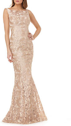 Kay Unger New York Metallic Lace Sleeveless Mermaid Gown